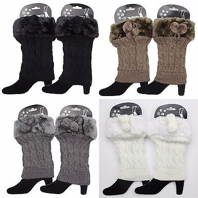 Women's Faux Fur Plush Leg Warmers Cable Knit Winter Warm Boot Cuff Socks Topper