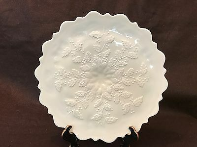 Custard Holly & Pointsettia Cake Plate L G Wright Flourescent 12""