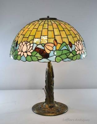 """Art Nouveau Antique Leaded Glass Lamp Water Lily Cattails 20"""" Shade"""