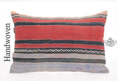 Striped VIntage Lumbar Kilim Throw Pillow 16x24 Turkish Hand Woven Cushion Cover