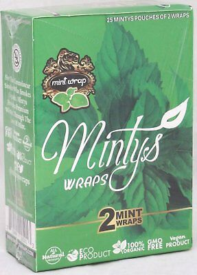 Mintys Mint High Hemp Herbal Wraps Full Box of 25 Pouches (2 Per Pouch) 50 Wraps