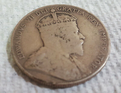 1908 Newfoundland Fifty Cents (50 cents)  Canada silver ~