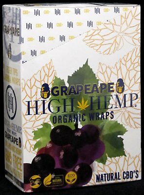 Grape Ape High Hemp Organic Wraps Box of 25 Pouches (2 Per Pouch) 50 Wraps Total