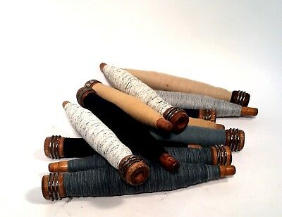 Bobbins Spools Spindles Quills Threaded Textile Neutral Colors Wooden lot-12