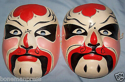 Old Asian Chinese Opera Masks Paper Mache Red Black White