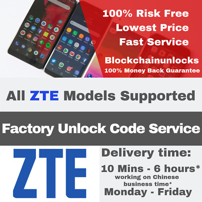 ZTE FACTORY UNLOCK Premium Service Code All Model All Network