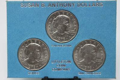 SDS  **FREE SHIPPING** 3 coins 1979 P D S Susan B Anthony Dollar Set