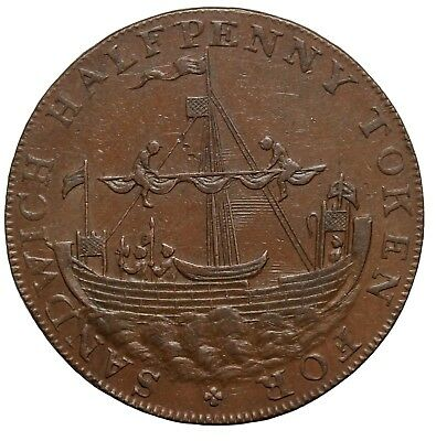 1790's Great Britain Kent Sandwich Sailing Ship Halfpenny Conder Token D&H-89