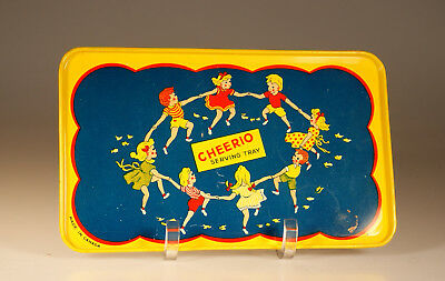 """Vintage Tin """"Cheerios"""" Lithograph Advertising Tray, Made in Canada c. 1950"""