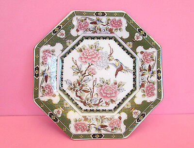 Imari Octagon Porcelain Plate with Flowers and Blue Birds and Gold Trim, Japan