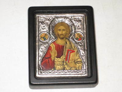 Byzantine Icon - JESUS & ANGELS - 950 Sterling Silver Small Wall Plaque Copy