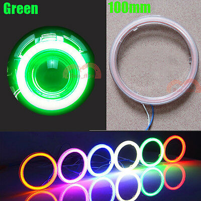 2pcs Car COB Angel Eyes Halo Ring LED Lamps 100mm Green Daytime Running Lights