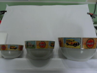 Vintage Gibson Coca-Cola Good Ol' Days Three Piece Nesting Mixing Serving Bowls