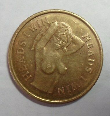 vintage copper heads I win, tails  you lose nude  token