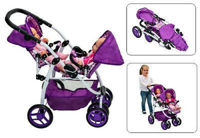 Girls Double Buggy Dolly Twin Jogger Pushchair Baby Tandem
