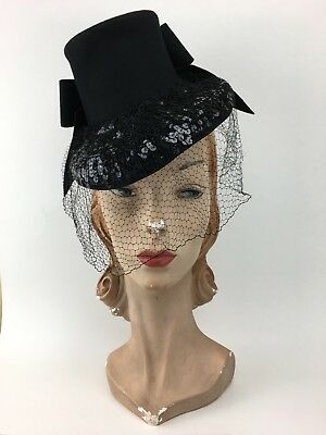 Vintage 1930s 1940s Black Felt Tilt Topper Hat w/ Large Back Bow & Sequin Brim