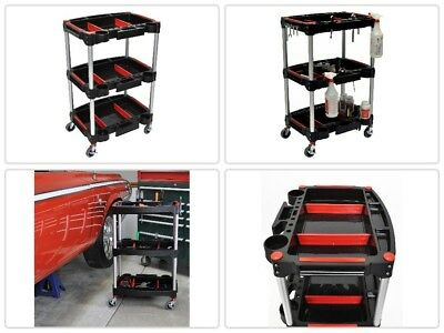 Mechanics Cart With Wheels 3 Tier Shelf Rolling Storage With Tools Magnet Panels