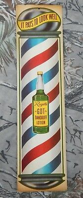 Vintage RAYETTE GDT Dandruff Lotion Advertising Ad Sign w/ Barber Pole