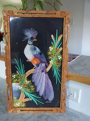 1950's  Mexican Feathercraft Bird Picture Hand Carved Wood Frame (10.5 x 17 3/4)