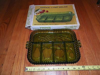 "NOS Vintage 5 PART RELISH TRAY #0856 OLIVE 12 & 3/4"" x 9"" INDIANA GLASS CO."
