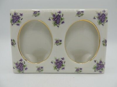 Lefton China Double Picture Frame Violets Gold Trim Mid Century 1956
