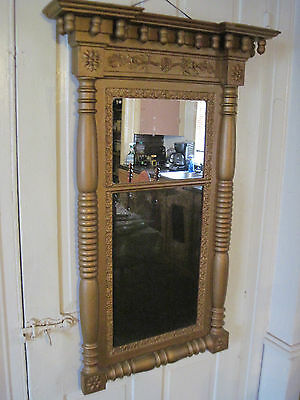 EARLY 1800s SHERATON GOLD GILT WOOD MIRROR, 13 FINIALS, DOUBLE MIRROR