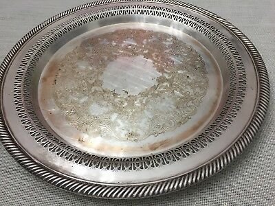 """Antique/Vintage WM Rogers Silverplate, Round 12""""Reticulated Serving Platter #170"""