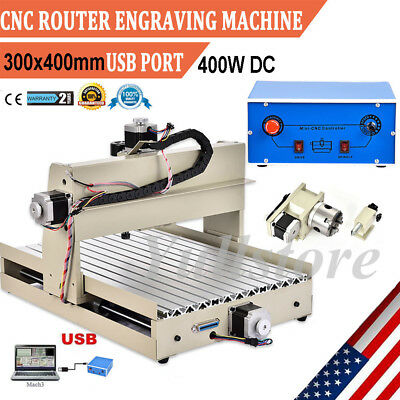 Usb Cnc Router Engraver Engraving Cutting 4 Axis 3040 Desktop Milling Cutter