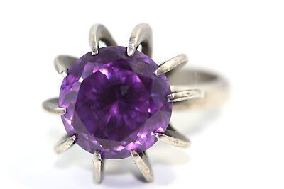 "D377 Mexico Modernist Caged Amethyst Sterling 925 Ring 13mm 7/8""w Ring Size 71/2"