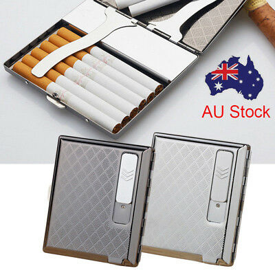 Windproof Metal Cigarette Case Holder Rechargeable With USB Lighter Electronic