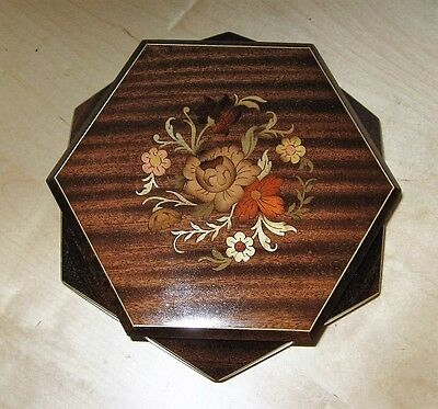 Reuge 6-Sided Floral Wooden Inlay Jwewlry Music Box Gavotte De Louis Xiii, Italy