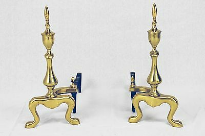 Pair of Antique Cast Brass Fireplace Fire Dogs/Andirons Williamsburg Style