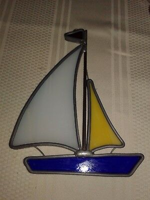 Stained Glass Sail Boat Suncatcher Window Ornament