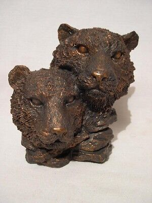 Two   Mountain Lion Heads  Bronze Colored Figurine
