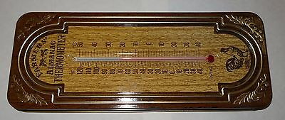 Vintage Tin / Metal Farmers Almanac Thermometer with chicken decor
