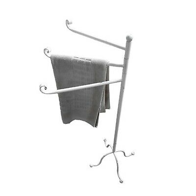 Free Standing Vintage Style Metal Hanging Bathroom Towel Rack 3 Bar Holder White