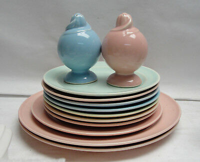 "Lot of 12 - LuRAY Pastels 6"",7"", 9"" Plates & Shakers - Yellow,Blue,Green, & Pink"