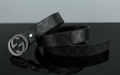 New GUCCI-Men's Leather Belt in Black 110CM: 31-34 inch Waists