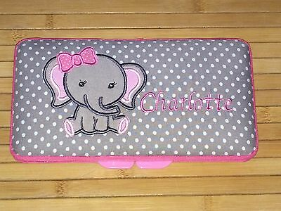 Personalized Baby Wipe Case Cute Elephant Girl Jungle