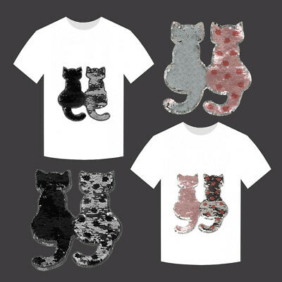 Reversible Change Color Sequins Cats Patches Sew on Cloth T-shirt Applique Craft