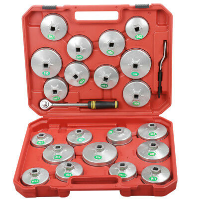 23pcs Cap Cup Type Oil Filter Remover Wrench Tool Set Removal Socket Set Kit