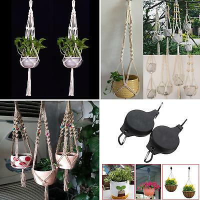 Handcrafted Braided Rope Macrame Hanging Basket Flower Pot Holder Plant Hanger S