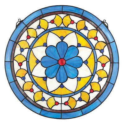 Stained Glass Panel - Victorian Blue Flower Round Stained Glass Window Hangings