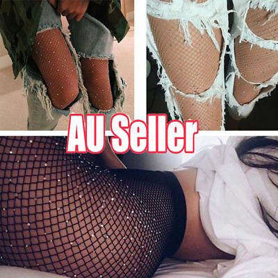 Women Crystal Rhinestone Fishnet Elastic Stockings Fish Net Tights Pantyhose BK