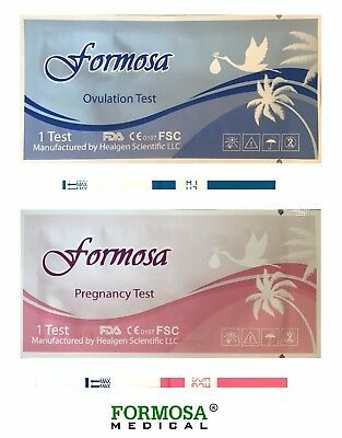 Formosa 50 ovulation and 20 pregnancy (50 LH+20 HCG) test strips, exp 04/2019