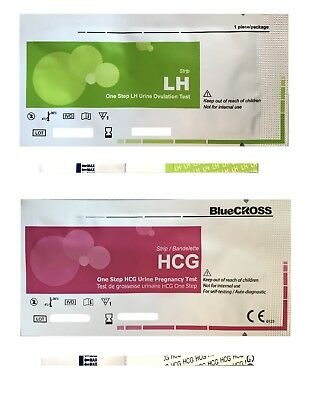BLUE CROSS 100 ovulation & 20 pregnancy 100 LH+20 HCG test strips exp 2018