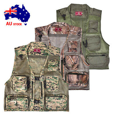 Mens Outdoor Fly Fishing Vest Mesh Chest Light Life Jacket Hiking Waterproof