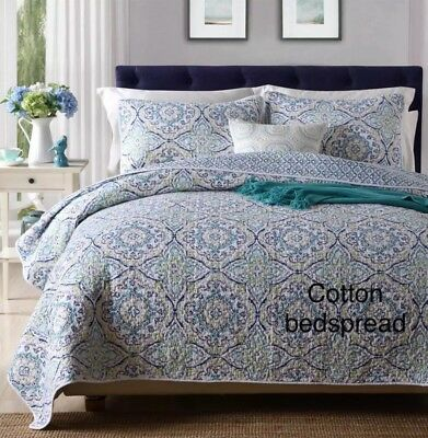 New cotton 3pc quilted queen king bedspread blue reversible floral vintage chic