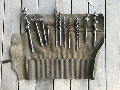 Collectable drill auger bits and tool bag