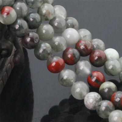 Natural African Bloodstone Gemstone Beads Round Loose Semi Precious Beads 6-12MM